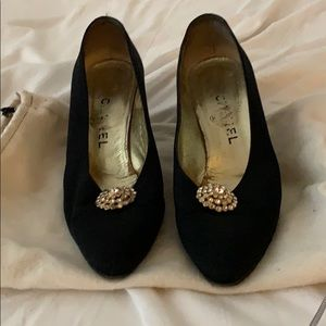 Vintage Chanel shoes with rhinestone accent